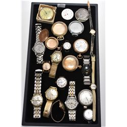 Selection of vintage watches including pocket and wrist watches, empty watch cases etc.