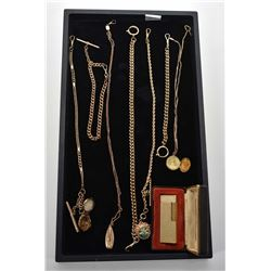 Selection vintage and antique gold filled watch chains including three with locket pendants plus a v