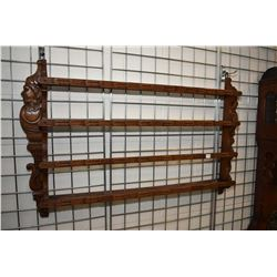 Carved German black forest two tier plate rack with rails
