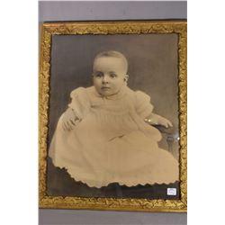 "Two vintage framed prints including portrait of a child and a wood framed ""Duchess of Devonshire"" pr"