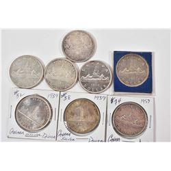 Eight Canadian silver dollars including two 1939, two 1953, 1954, 1965 and two 1966