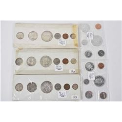 Five Canadian decimal coin sets including 1949, 1958, 1961 and factory sealed 1963 and 1964