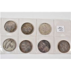 Set of seven one troy ounce .999 + pure silver round tokens marked Canadian Silver Marketing Company