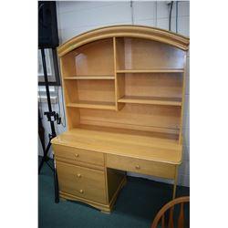 Modern single pedestal computer desk with storage hutch