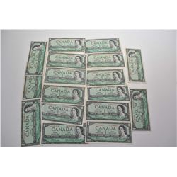 Selection of eighteen Canadian $1 bills including six non-circulated