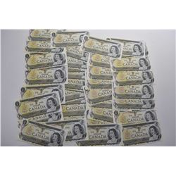 Forty six non-circulated 1973 one dollars bills including some in short consecutive runs, signature
