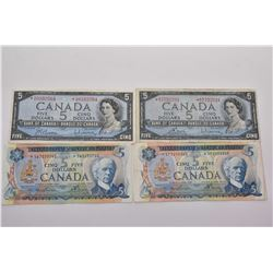 Four circulated Canadian $5 bills including two 1954 and two 1972