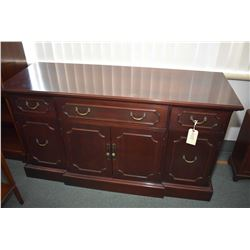 Solid mahogany sideboard with three drawers and two doors, made by Gibbard