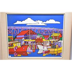 """Framed acrylic on massonite painting titled on verso """"Ready or Not-Granville Island, Vancouver B.C"""""""