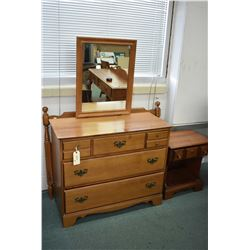 Vilas bedroom furniture including three drawer mirrored dresser, single drawer night table and singl