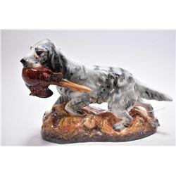 "Royal Doulton retriever with pheasant on porcelain base HN2529, 12"" in length"
