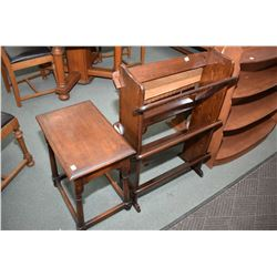 Two pieces of mid 20th century parlour furniture including an interesting open book shelf and a tudo