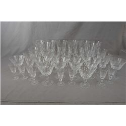 Large selection of Webb and Corbett crystal stemware including eight each of red wine, small claret,