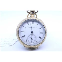 Hampden size 18, 11 jewel pocket watch. Serial # 332598 dates this pocket watch to 1884 with gild sp