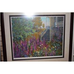 "Framed limited edition print titled ""Forgotten Garden"" pencil signed by artist Henry Pilsson, 87/350"
