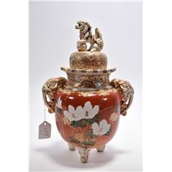 Antique soft paste porcelain Oriental double handled lidded urn with applied elephant handles and Fo