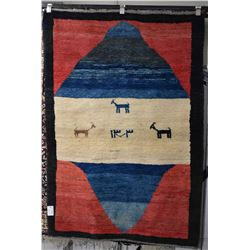 "Vintage wool primitive carpet with animal on a land crossing, 44"" X 65"""