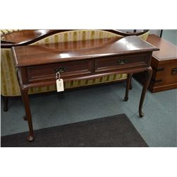 Solid cherry two drawer console/sofa table on tall cabriole supports made by Gibbard