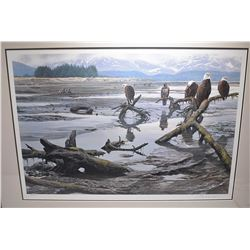 "Framed limited edition print ""Low Tide-Bald Eagles"" pencil signed by artist John Seerey Lester, 186/"