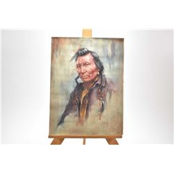 "Framed original pastel on sandpaper portrait painting titled ""Frank Raweyter, Blackfoot"" signed by a"