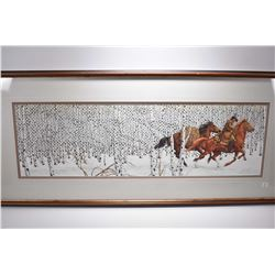 Framed limited edition print of horses and birch trees pencil signed by artist Bev Doolittle, 67657/