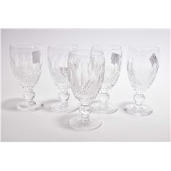 "Five Waterford crystal ""Colleen"" aperitif glasses"