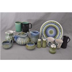 Selection of English and Irish pottery including Wade Pottery tea pot, cream, sugar and water jug, R