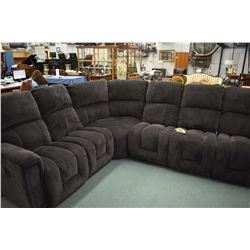 Near new upholstered sectional made by La-Z-boy with two electric reclining seat sections and one me