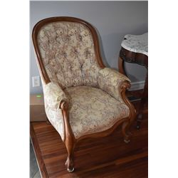 Victoria tapestry upholstered button tufted parlour chair