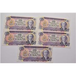 Six non-circulated 1971 ten dollar bills, all with Lawson Bouey verities
