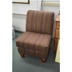 Modern armless parlour chair with striped upholstery