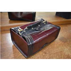 "Italian made leather ""doctor"" style vanity case with bottle storage made by Madame Angelo"