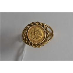 Ladies 14kt yellow gold ring set with gold dos pesos coin