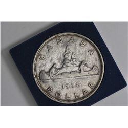 Canadian 1948 Voyageur silver dollar