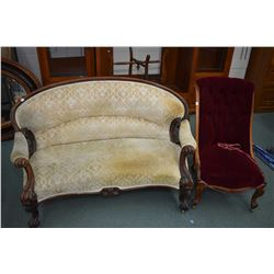 Two pieces of Victorian parlour furniture including a delicate settee with carved show wood and scro