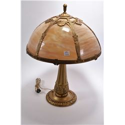 "Antique cast table lamp fitted with cast and slag glass shade 22"" in height"