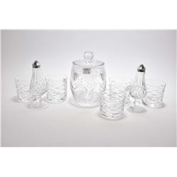 Set of five Waterford crystal tumblers and a pair of Waterford shakers with silver-plate tops and a