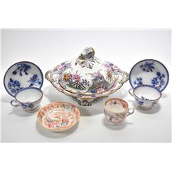 Selection of antique porcelain including lidded server with pierced handles and fig and leaf finial