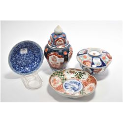 "Selection of early Oriental porcelains including Imari 7 1/2"" ginger jar, lidded dish, two small dis"