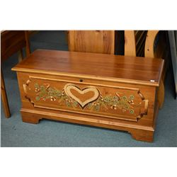 Modern cedar lined blanket chest with factory painted decoration made by Lane