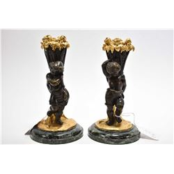 "Pair of bronze figural candlesticks with mercury gilded decoration on marble bases 7 1/2"" in height"