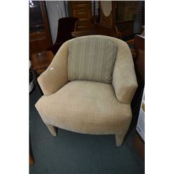 Near new closed arm upholstered parlour chair, originally purchased at McElherans furniture