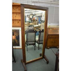 Antique Mission style quarter cut oak full length cheval mirror