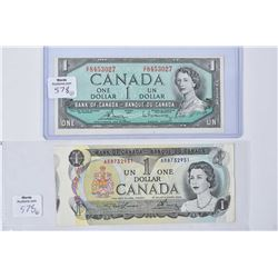 Two off cut Canadian bills including 1954 Canadian one dollar bill signed Bouey and Raminsky, note t