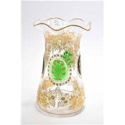 Exquisite antique Victorian hand cut and hand gilded glass fluted flower vase with inset green glass
