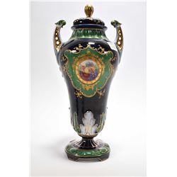 "Antique cobalt hand gilded and hand painted lidded urn with hand painted floral cameo, 12"" in height"