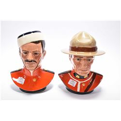 Pair of Royal Doulton RCMP busts commemorating the centennial of the Royal Canadian Mounted police,