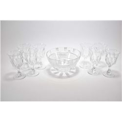 Quality crystal center bowl and eight Webb & Corbett wine glasses