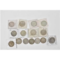 Fifteen American silver half dollars ranging from 1941 to 1964