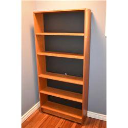 Teak veneer open shelving unit